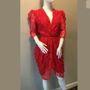 Dresses & Skirts - 80s Red Floral Lace Dress Fab Lined Mini XS